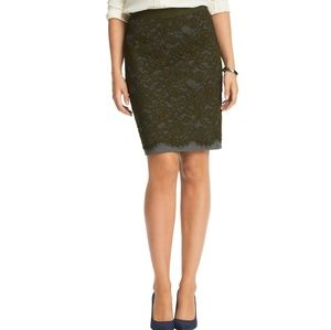 NWOT Loft lace overlay ponte pencil skirt!